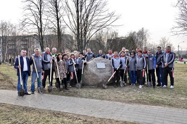 В Чижевке заложена аллея в честь 80-летия образования Заводского района города Минска, 14 апреля 2018 года